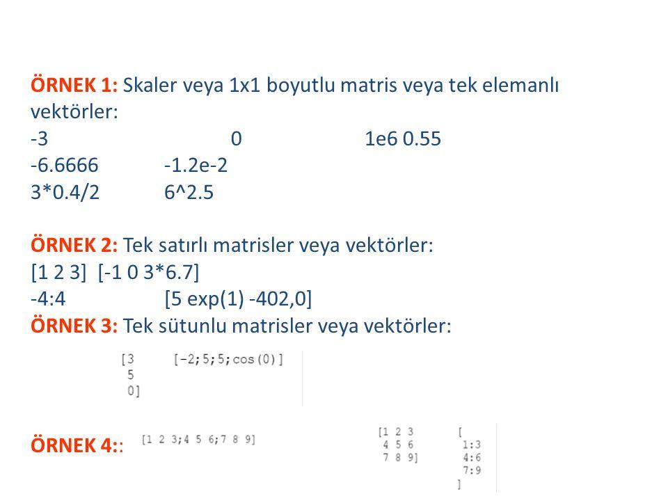 ÖRNEK 1: Skaler veya 1x1 boyutlu matris veya tek elemanlı vektörler: -3 0 1e6 0.55 -6.6666 -1.2e-2 3*0.4/2 6^2.5 ÖRNEK 2: Tek satırlı matrisler veya vektörler: [1 2 3] [-1 0 3*6.7] -4:4 [5 exp(1) -402,0] ÖRNEK 3: Tek sütunlu matrisler veya vektörler: ÖRNEK 4:: Matrisler