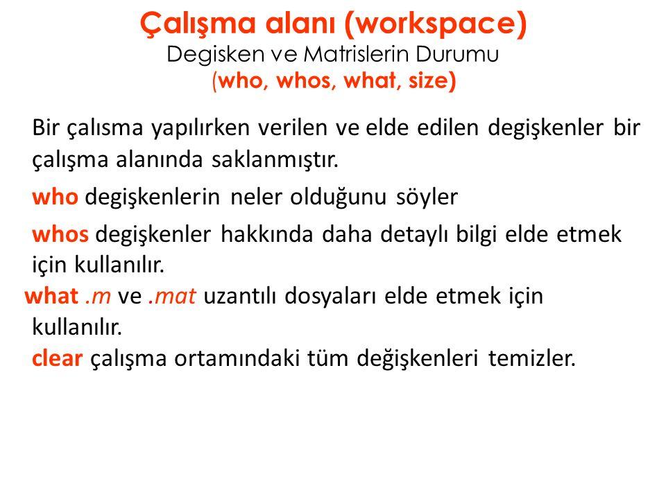 Çalışma alanı (workspace) Degisken ve Matrislerin Durumu ( who, whos, what, size) Bir çalısma yapılırken verilen ve elde edilen degişkenler bir çalışma alanında saklanmıştır.