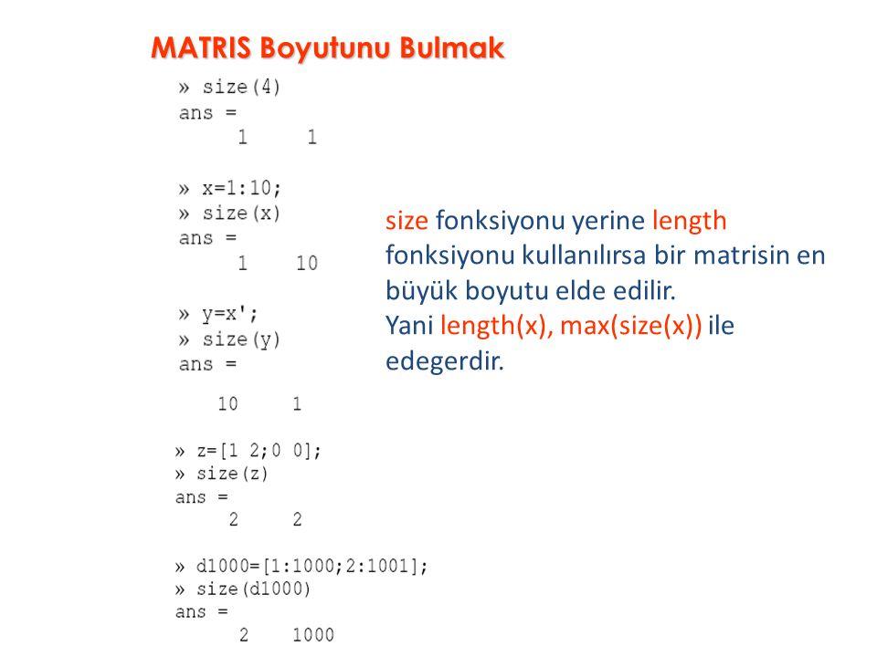 size fonksiyonu yerine length fonksiyonu kullanılırsa bir matrisin en büyük boyutu elde edilir. Yani length(x), max(size(x)) ile edegerdir. MATRIS Boy