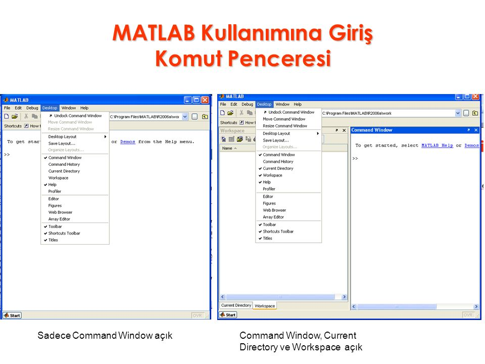 MATLAB Kullanımına Giriş Komut Penceresi Sadece Command Window açıkCommand Window, Current Directory ve Workspace açık
