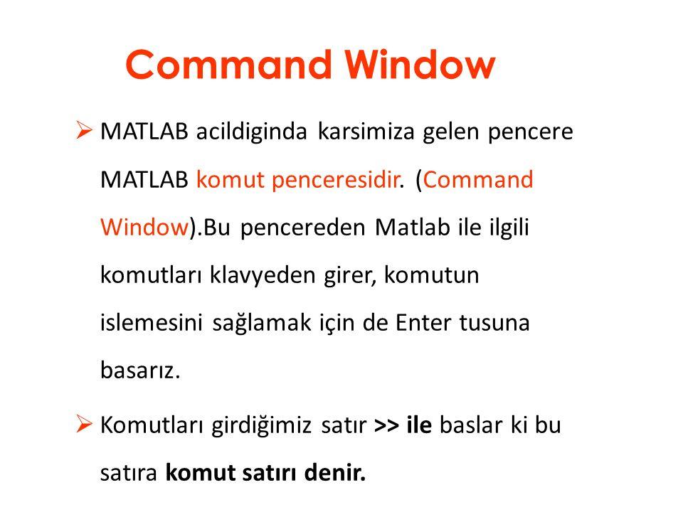 MATLAB Command Window : Matlab programının bir hesap makinesi yada işlem yapılan bir tahta gibi kullanıldığı bir alt penceresidir.