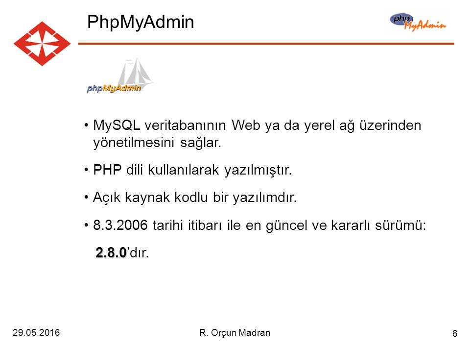 29.05.2016R. Orçun Madran 6 MySQL veritabanının Web ya da yerel ağ üzerinden yönetilmesini sağlar.