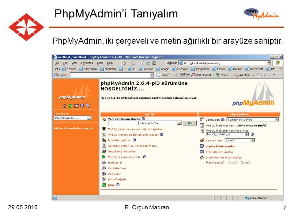 29.05.2016R. Orçun Madran 7 PhpMyAdmin, iki çerçeveli ve metin ağırlıklı bir arayüze sahiptir.