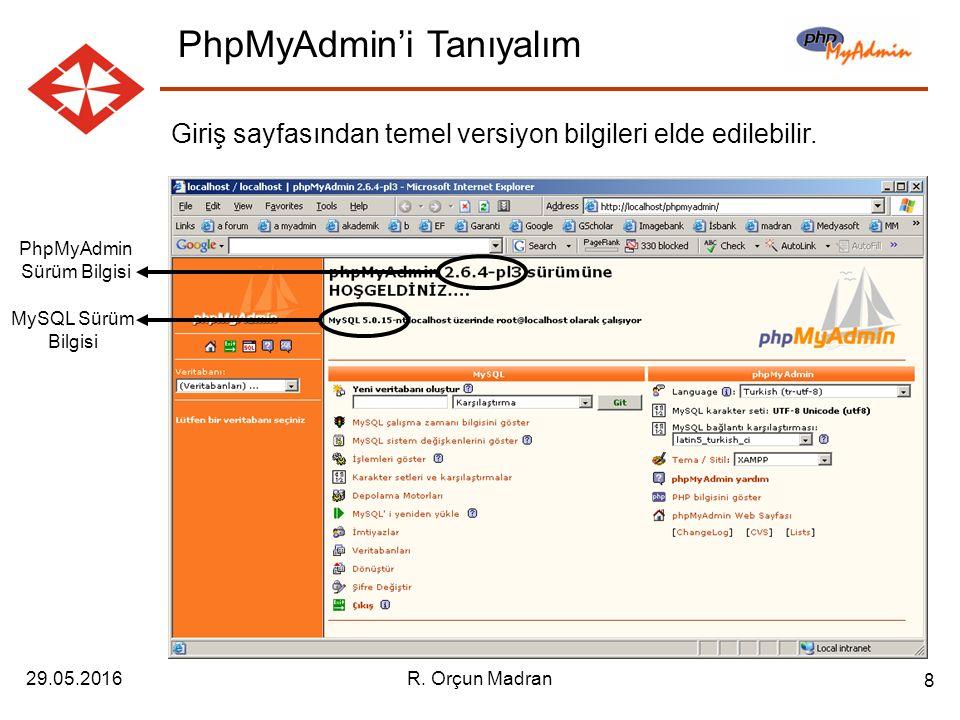 29.05.2016R. Orçun Madran 8 Giriş sayfasından temel versiyon bilgileri elde edilebilir.