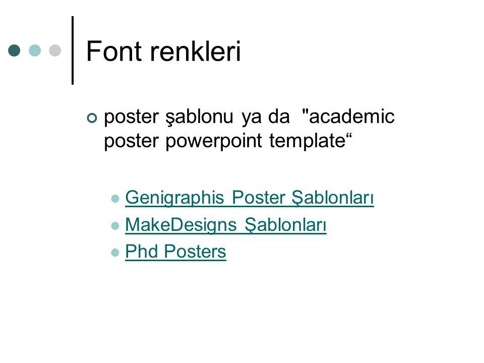 Font renkleri poster şablonu ya da