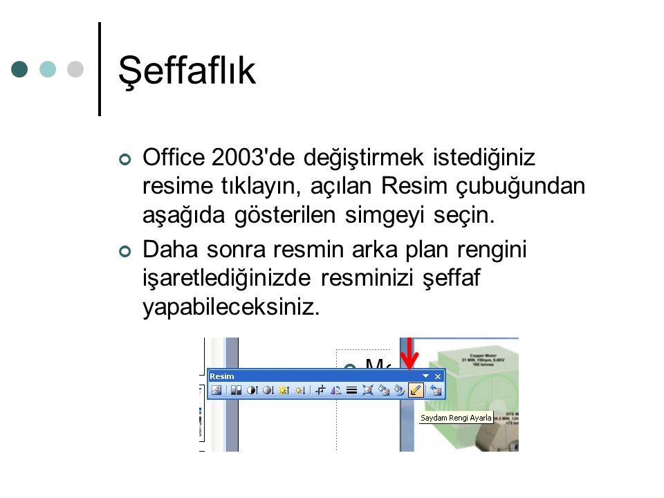 Şeffaflık Office 2003'de değiştirmek istediğiniz resime tıklayın, açılan Resim çubuğundan aşağıda gösterilen simgeyi seçin. Daha sonra resmin arka pla