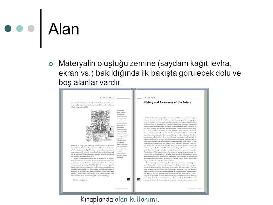 Alan Materyalin oluştuğu zemine (saydam kağıt,levha, ekran vs.) bakıldığında ilk bakışta görülecek dolu ve boş alanlar vardır. Kitaplarda alan kullanı