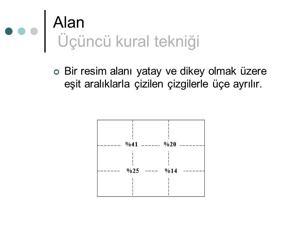Alan Üçüncü kural tekniği Bir resim alanı yatay ve dikey olmak üzere eşit aralıklarla çizilen çizgilerle üçe ayrılır.