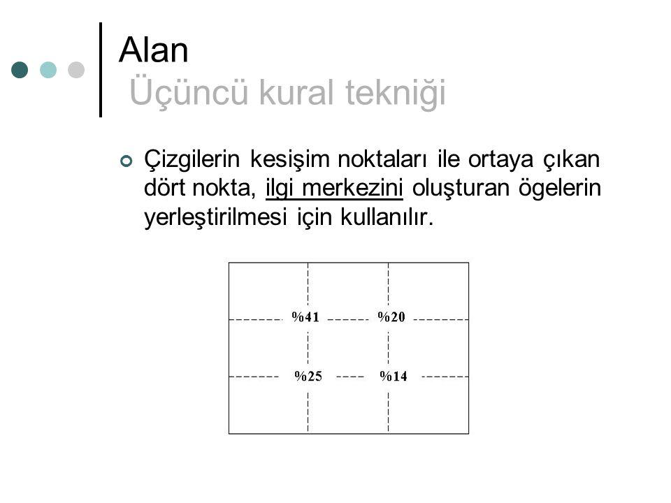 Alan Üçüncü kural tekniği Çizgilerin kesişim noktaları ile ortaya çıkan dört nokta, ilgi merkezini oluşturan ögelerin yerleştirilmesi için kullanılır.
