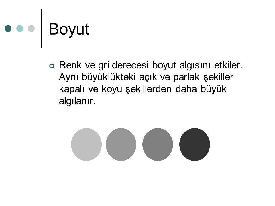 Boyut Renk ve gri derecesi boyut algısını etkiler.