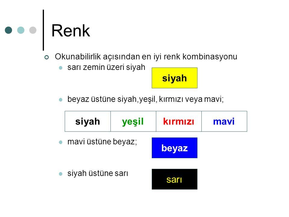 Renk Okunabilirlik açısından en iyi renk kombinasyonu sarı zemin üzeri siyah beyaz üstüne siyah,yeşil, kırmızı veya mavi; mavi üstüne beyaz; siyah üstüne sarı siyah yeşilkırmızımavi beyaz sarı