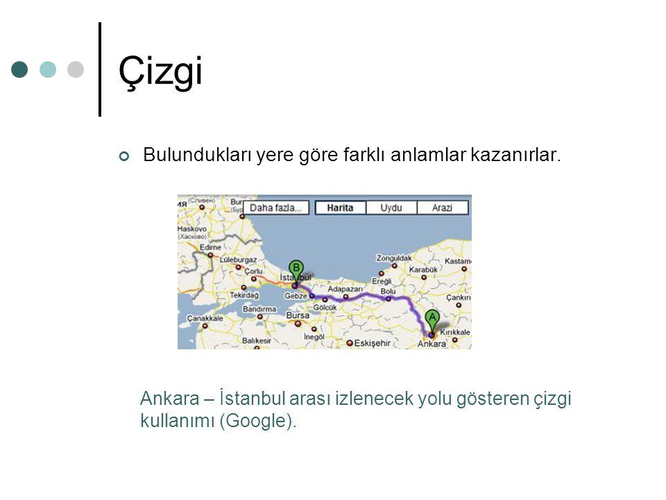 Çizgi Bulundukları yere göre farklı anlamlar kazanırlar. Ankara – İstanbul arası izlenecek yolu gösteren çizgi kullanımı (Google).