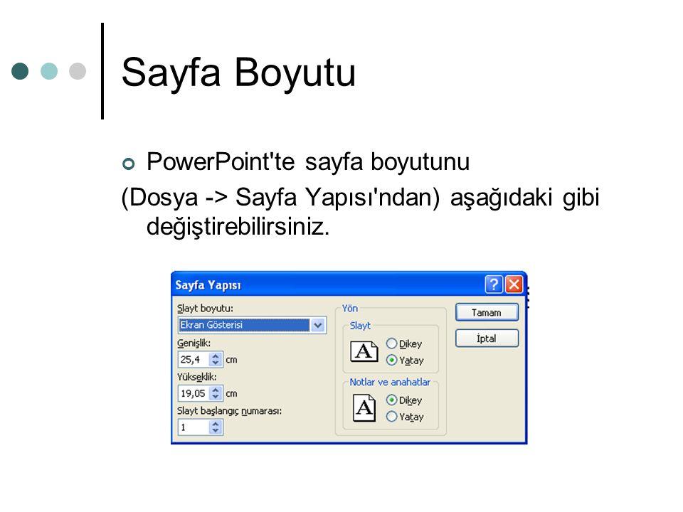 Sayfa Boyutu PowerPoint te sayfa boyutunu (Dosya -> Sayfa Yapısı ndan) aşağıdaki gibi değiştirebilirsiniz.