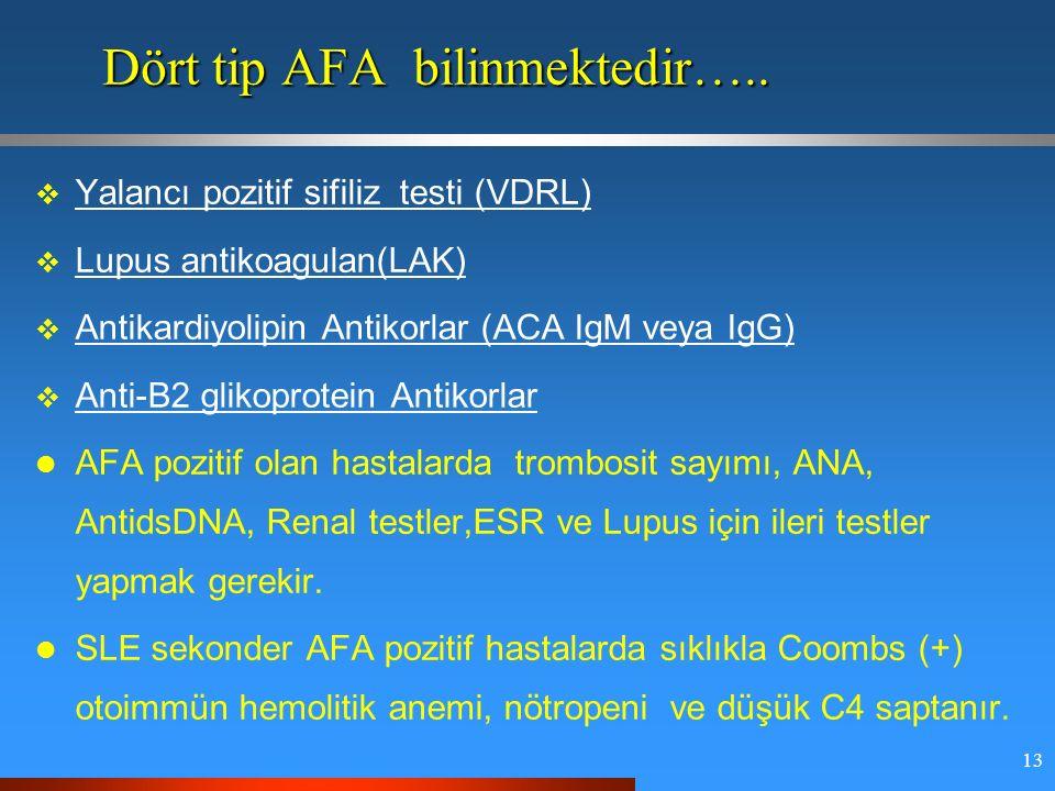 13  Yalancı pozitif sifiliz testi (VDRL)  Lupus antikoagulan(LAK)  Antikardiyolipin Antikorlar (ACA IgM veya IgG)  Anti-B2 glikoprotein Antikorlar AFA pozitif olan hastalarda trombosit sayımı, ANA, AntidsDNA, Renal testler,ESR ve Lupus için ileri testler yapmak gerekir.