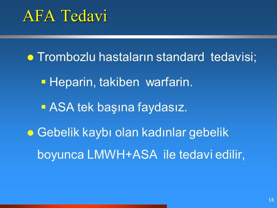 18 AFA Tedavi Trombozlu hastaların standard tedavisi;  Heparin, takiben warfarin.