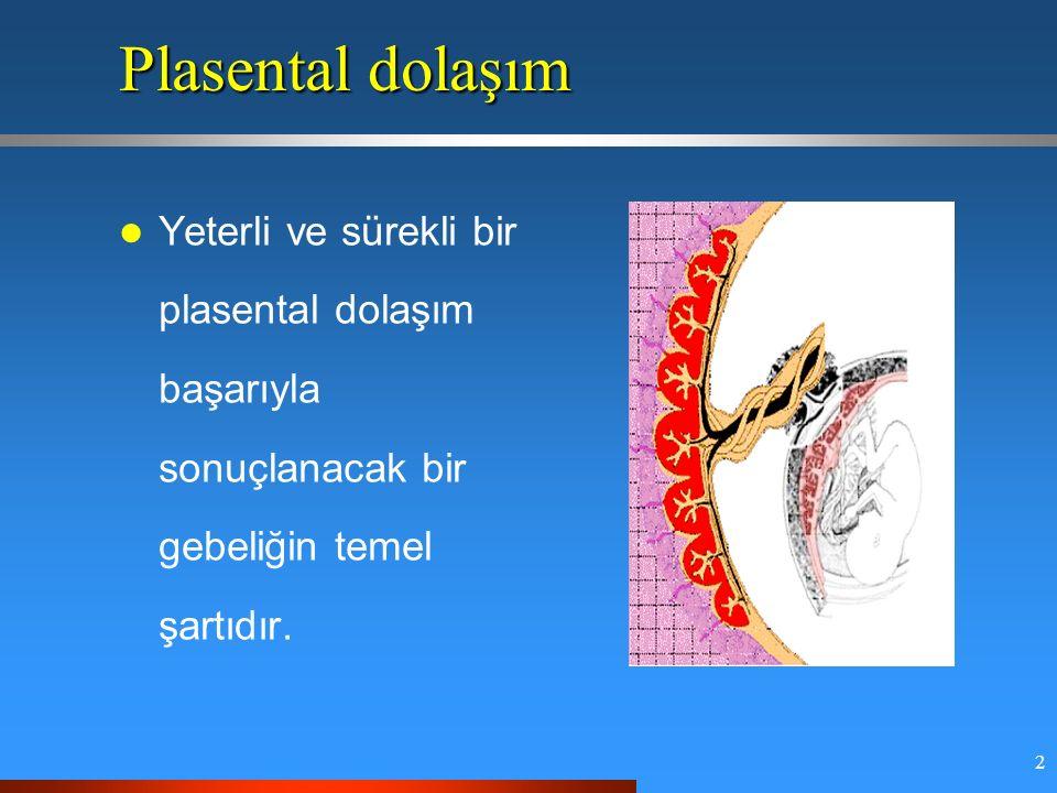 2 Plasental dolaşım Yeterli ve sürekli bir plasental dolaşım başarıyla sonuçlanacak bir gebeliğin temel şartıdır.
