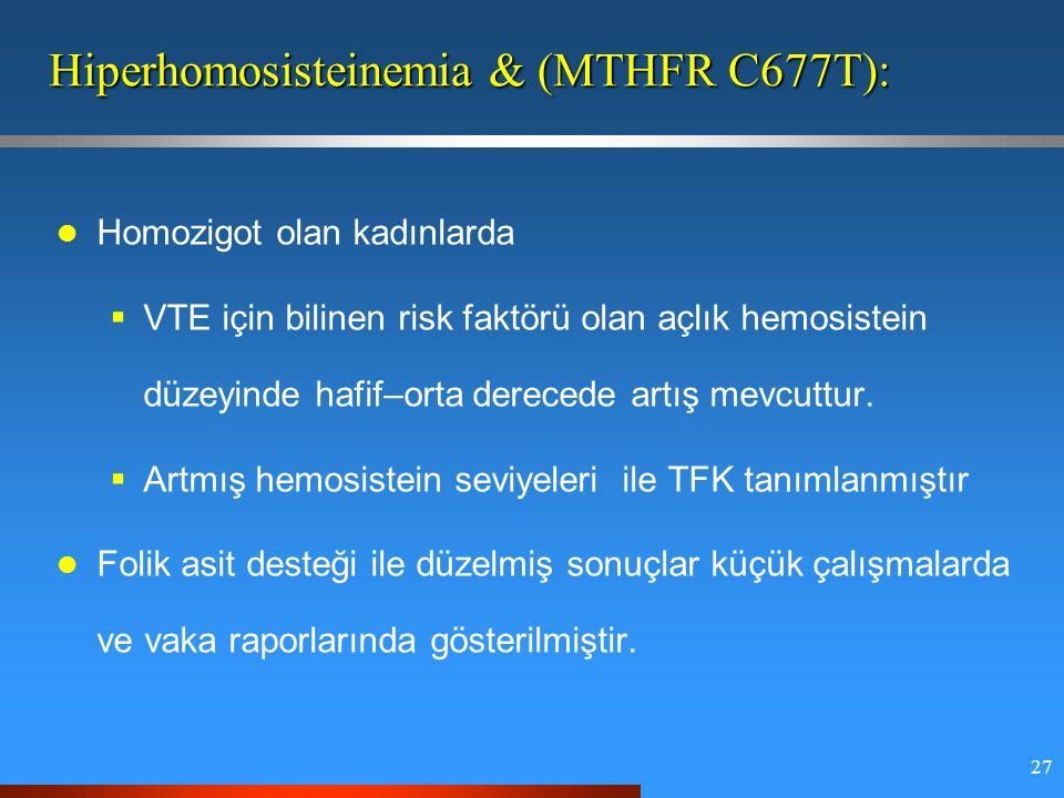 27 Hiperhomosisteinemia & (MTHFR C677T): Homozigot olan kadınlarda  VTE için bilinen risk faktörü olan açlık hemosistein düzeyinde hafif–orta derecede artış mevcuttur.