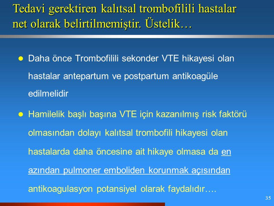 35 Daha önce Trombofilili sekonder VTE hikayesi olan hastalar antepartum ve postpartum antikoagüle edilmelidir Hamilelik başlı başına VTE için kazanılmış risk faktörü olmasından dolayı kalıtsal trombofili hikayesi olan hastalarda daha öncesine ait hikaye olmasa da en azından pulmoner emboliden korunmak açısından antikoagulasyon potansiyel olarak faydalıdır….