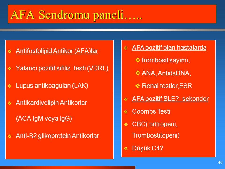 40 AFA Sendromu paneli…..