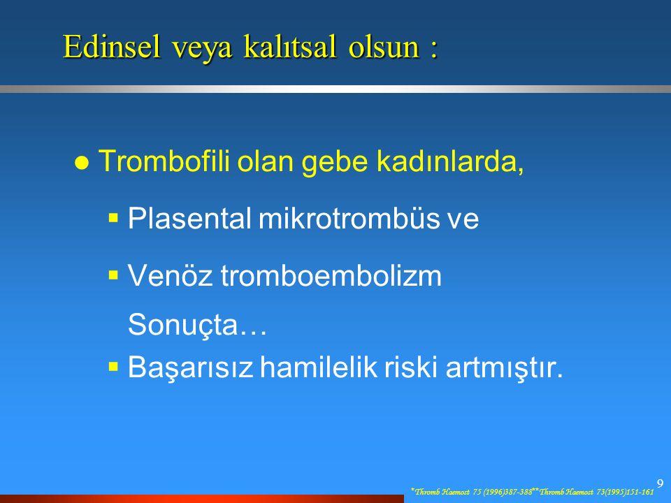 9 Edinsel veya kalıtsal olsun : Trombofili olan gebe kadınlarda,  Plasental mikrotrombüs ve  Venöz tromboembolizm Sonuçta…  Başarısız hamilelik riski artmıştır.