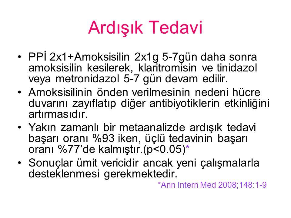 Ardışık Tedavi PPİ 2x1+Amoksisilin 2x1g 5-7gün daha sonra amoksisilin kesilerek, klaritromisin ve tinidazol veya metronidazol 5-7 gün devam edilir.