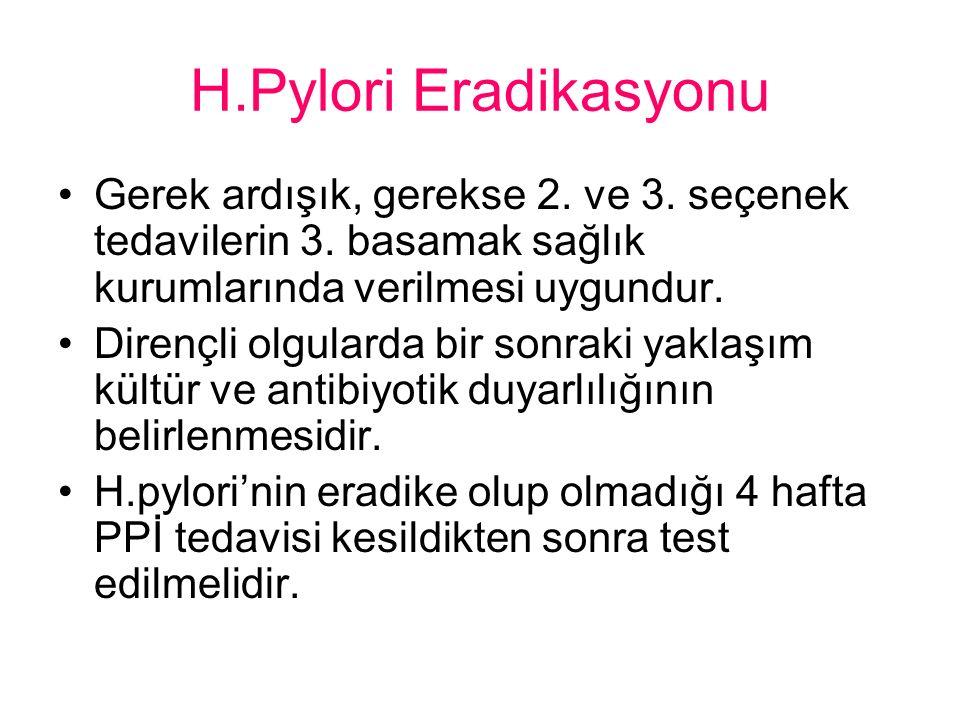 H.Pylori Eradikasyonu Gerek ardışık, gerekse 2.ve 3.