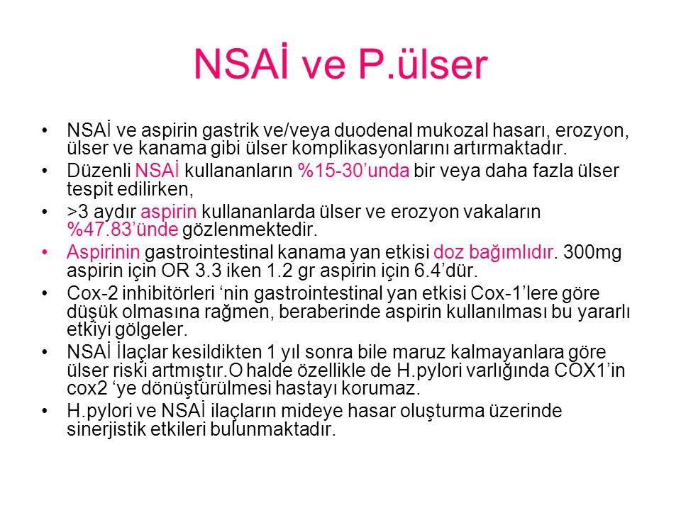 NSAİ ve P.ülser NSAİ ve aspirin gastrik ve/veya duodenal mukozal hasarı, erozyon, ülser ve kanama gibi ülser komplikasyonlarını artırmaktadır.