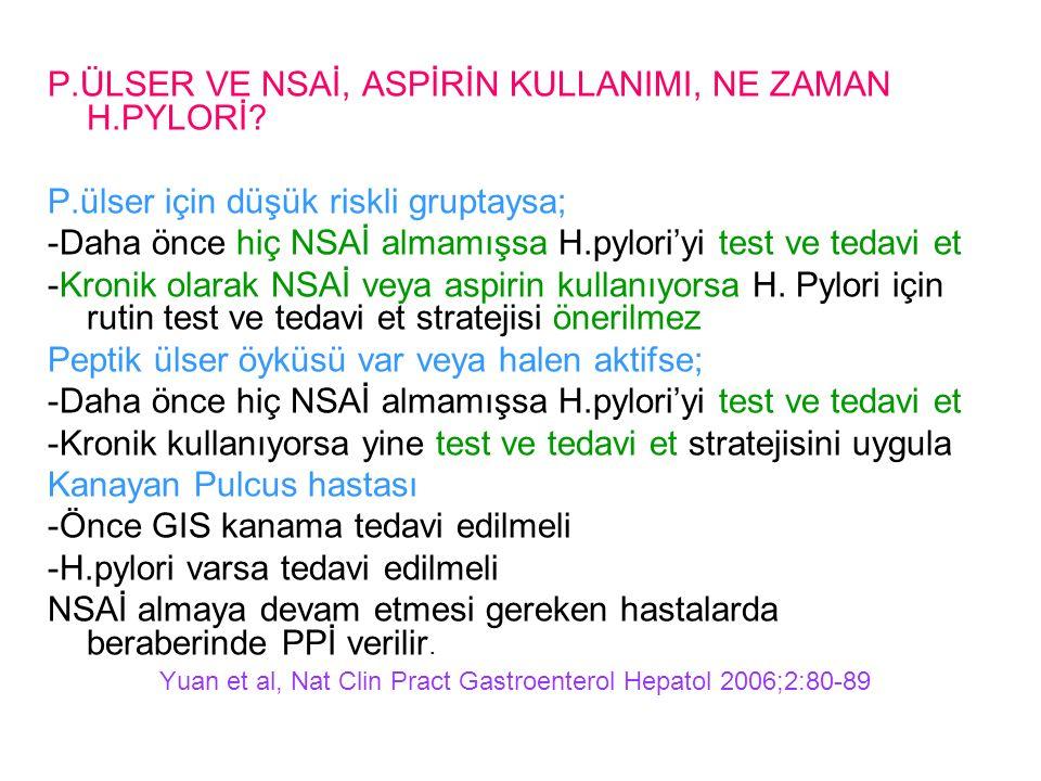 P.ÜLSER VE NSAİ, ASPİRİN KULLANIMI, NE ZAMAN H.PYLORİ.