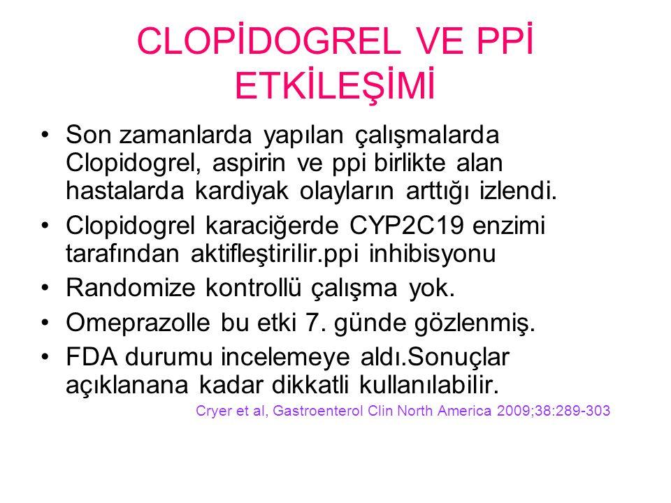 CLOPİDOGREL VE PPİ ETKİLEŞİMİ Son zamanlarda yapılan çalışmalarda Clopidogrel, aspirin ve ppi birlikte alan hastalarda kardiyak olayların arttığı izlendi.
