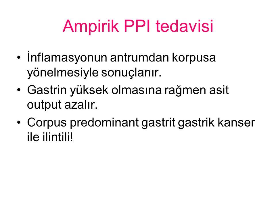 Ampirik PPI tedavisi İnflamasyonun antrumdan korpusa yönelmesiyle sonuçlanır.