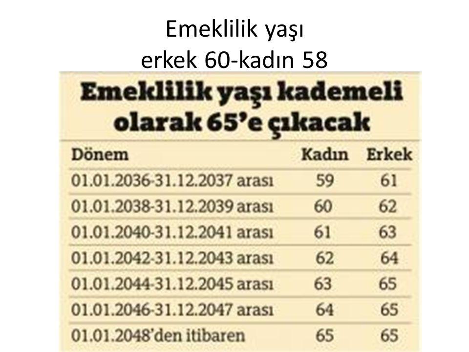 Emeklilik yaşı erkek 60-kadın 58