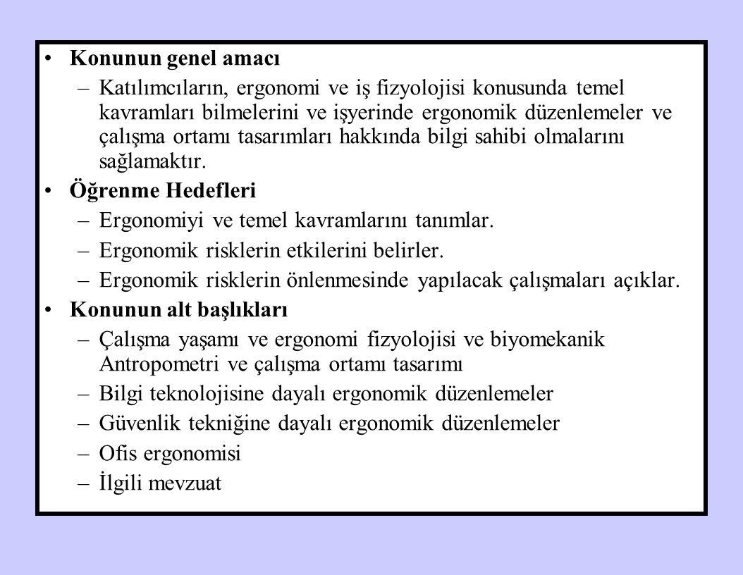 Prof.Dr. Ö. Faruk TEKBAŞ Ergonomi ERGONOMİ