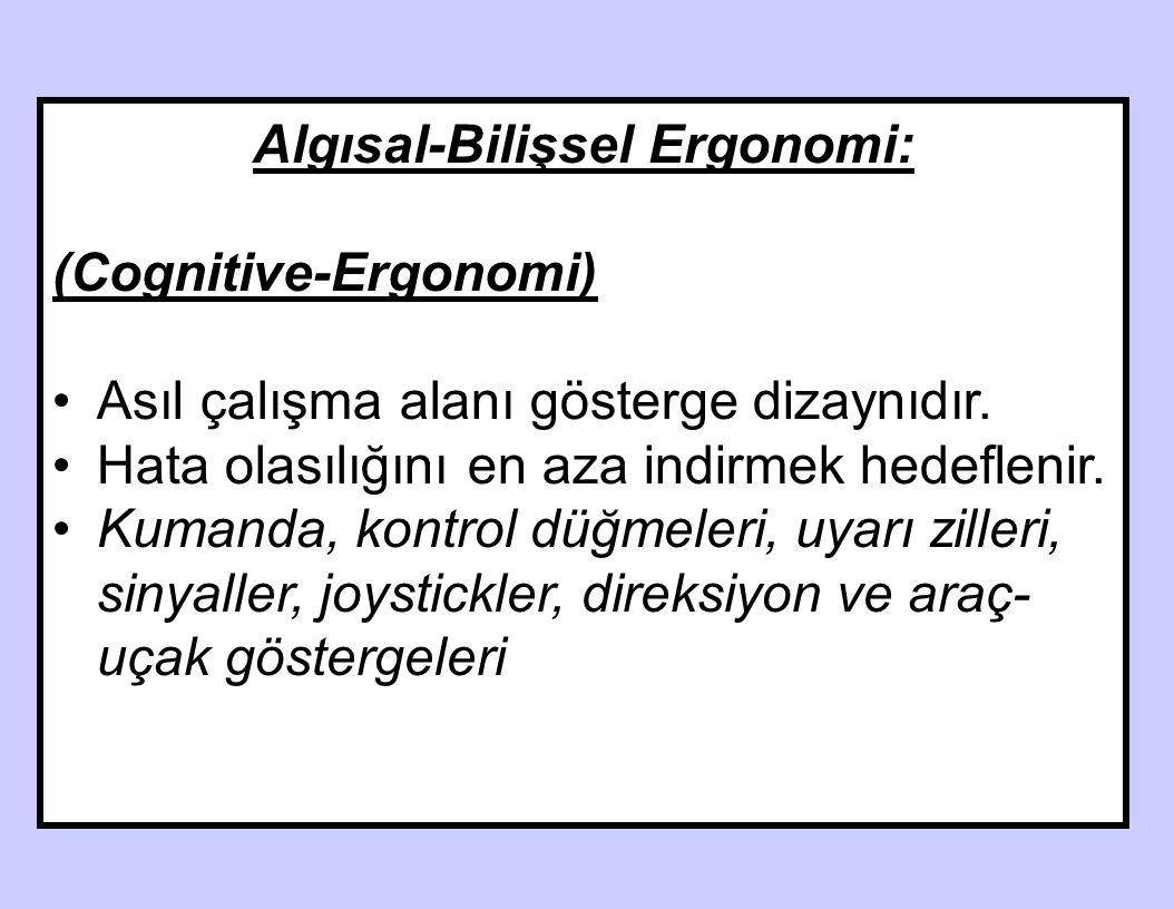 Algısal-Bilişsel Ergonomi: CognitcOİTİVEive Ergonomi (Cognitive-Ergonomi) Asıl çalışma alanı gösterge dizaynıdır. Hata olasılığını en aza indirmek hed
