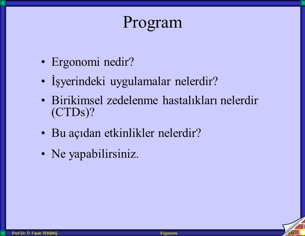 Prof.Dr. Ö. Faruk TEKBAŞ Ergonomi Program Ergonomi nedir? İşyerindeki uygulamalar nelerdir? Birikimsel zedelenme hastalıkları nelerdir (CTDs)? Bu açıd
