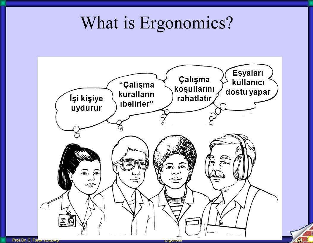 """Prof.Dr. Ö. Faruk TEKBAŞ Ergonomi What is Ergonomics? İşi kişiye uydurur """"Çalışma kuralların ıbelirler"""" Çalışma koşullarını rahatlatır Eşyaları kullan"""
