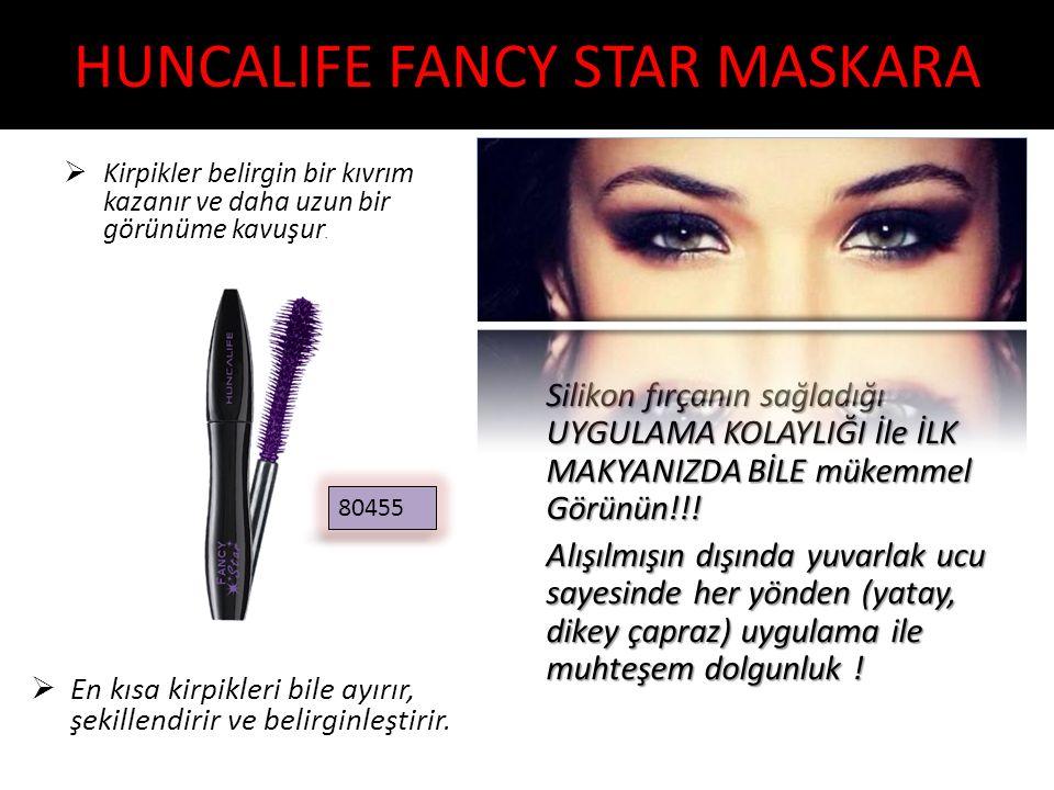 HUNCALIFE FANCY STAR MASKARA  Kirpikler belirgin bir kıvrım kazanır ve daha uzun bir görünüme kavuşur.