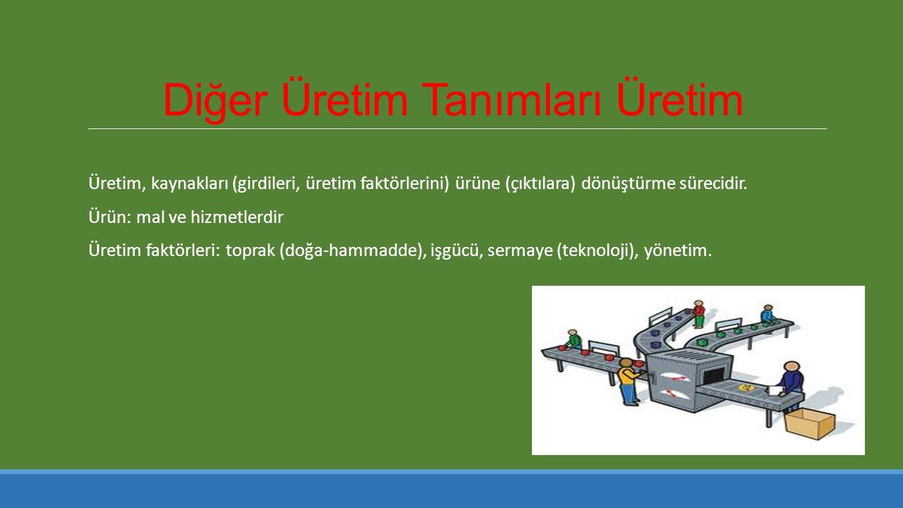 Diğer Üretim Tanımları Üretim Üretim, kaynakları (girdileri, üretim faktörlerini) ürüne (çıktılara) dönüştürme sürecidir.