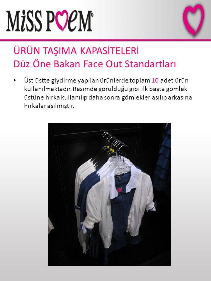 ÜRÜN TAŞIMA KAPASİTELERİ Düz Öne Bakan Face Out Standartları Üst üstte giydirme yapılan ürünlerde toplam 10 adet ürün kullanılmaktadır. Resimde görüld