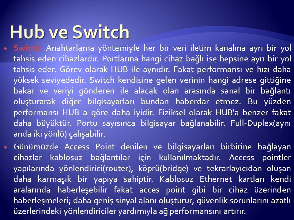  Switch: Anahtarlama yöntemiyle her bir veri iletim kanalına ayrı bir yol tahsis eden cihazlardır. Portlarına hangi cihaz bağlı ise hepsine ayrı bir