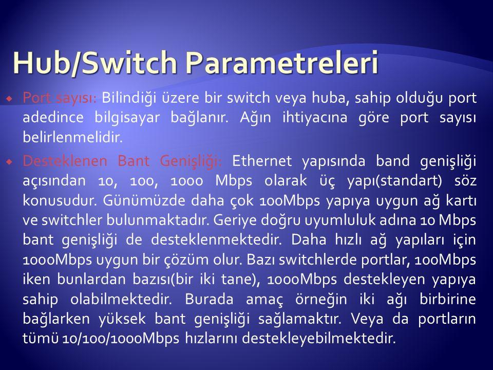  Port sayısı: Bilindiği üzere bir switch veya huba, sahip olduğu port adedince bilgisayar bağlanır.