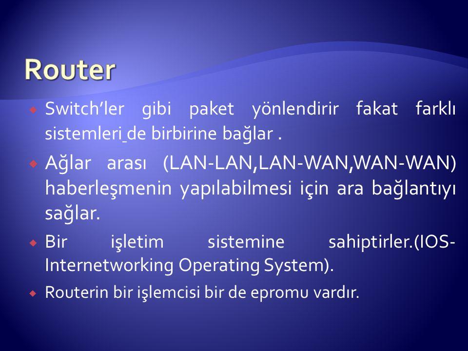  Switch'ler gibi paket yönlendirir fakat farklı sistemleri de birbirine bağlar.  Ağlar arası (LAN-LAN,LAN-WAN,WAN-WAN) haberleşmenin yapılabilmesi i
