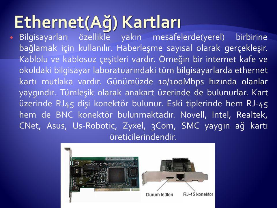  Bilgisayarları özellikle yakın mesafelerde(yerel) birbirine bağlamak için kullanılır.
