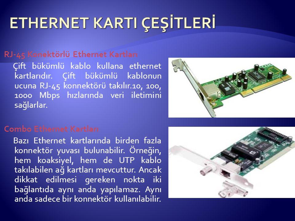 RJ-45 Konektörlü Ethernet Kartları Çift bükümlü kablo kullana ethernet kartlarıdır. Çift bükümlü kablonun ucuna RJ-45 konnektörü takılır.10, 100, 1000