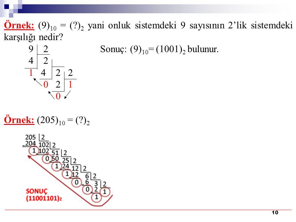 10 Örnek: (9) 10 = (?) 2 yani onluk sistemdeki 9 sayısının 2'lik sistemdeki karşılığı nedir? 9 2 Sonuç: (9) 10 = (1001) 2 bulunur. 4 2 1 4 2 2 0 2 1 0