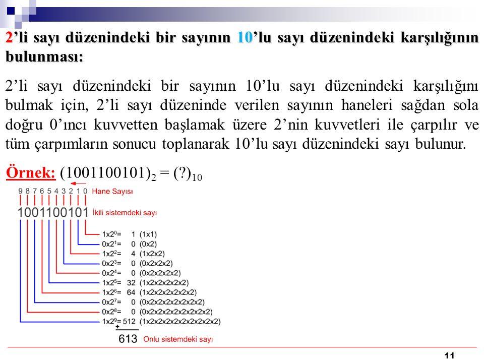 11 2'li sayı düzenindeki bir sayının 10'lu sayı düzenindeki karşılığının bulunması: 2'li sayı düzenindeki bir sayının 10'lu sayı düzenindeki karşılığını bulmak için, 2'li sayı düzeninde verilen sayının haneleri sağdan sola doğru 0'ıncı kuvvetten başlamak üzere 2'nin kuvvetleri ile çarpılır ve tüm çarpımların sonucu toplanarak 10'lu sayı düzenindeki sayı bulunur.