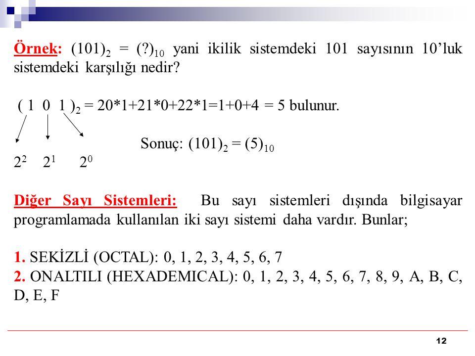 12 Örnek: (101) 2 = (?) 10 yani ikilik sistemdeki 101 sayısının 10'luk sistemdeki karşılığı nedir? ( 1 0 1 ) 2 = 20*1+21*0+22*1=1+0+4 = 5 bulunur. Son