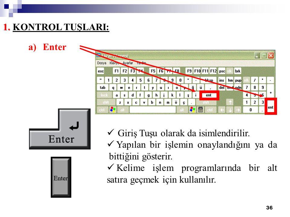 36 1. 1. KONTROL TUŞLARI: a)Enter Giriş Tuşu olarak da isimlendirilir. Yapılan bir işlemin onaylandığını ya da bittiğini gösterir. Kelime işlem progra