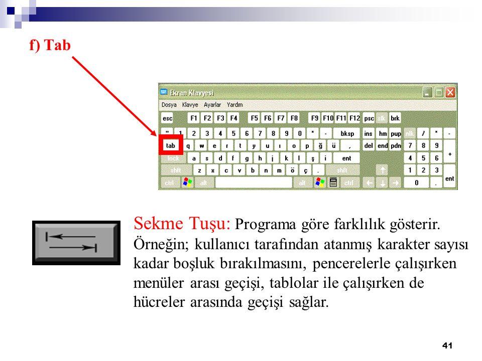 41 Sekme Tuşu: Programa göre farklılık gösterir. Örneğin; kullanıcı tarafından atanmış karakter sayısı kadar boşluk bırakılmasını, pencerelerle çalışı