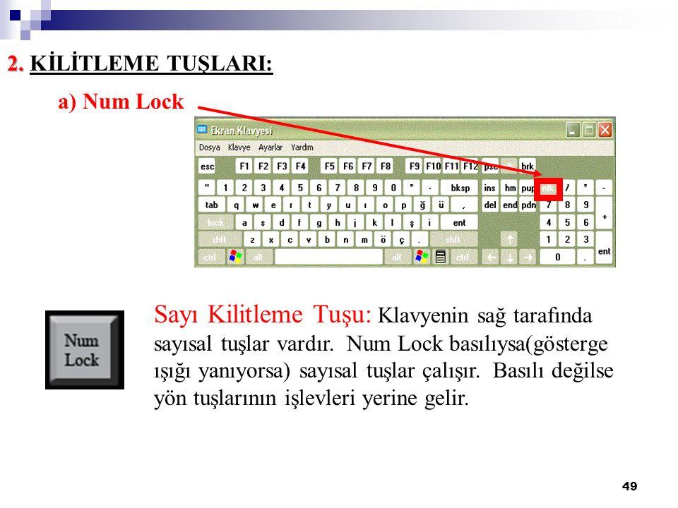 49 2. 2. KİLİTLEME TUŞLARI: a) Num Lock Sayı Kilitleme Tuşu: Klavyenin sağ tarafında sayısal tuşlar vardır. Num Lock basılıysa(gösterge ışığı yanıyors