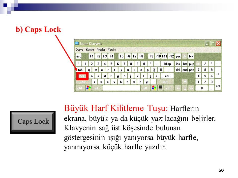 50 b) Caps Lock Büyük Harf Kilitleme Tuşu: Harflerin ekrana, büyük ya da küçük yazılacağını belirler. Klavyenin sağ üst köşesinde bulunan göstergesini